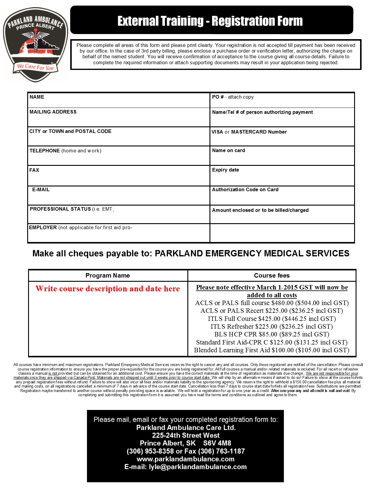 Itls Full Provider Recertification General Parkland Ambulance