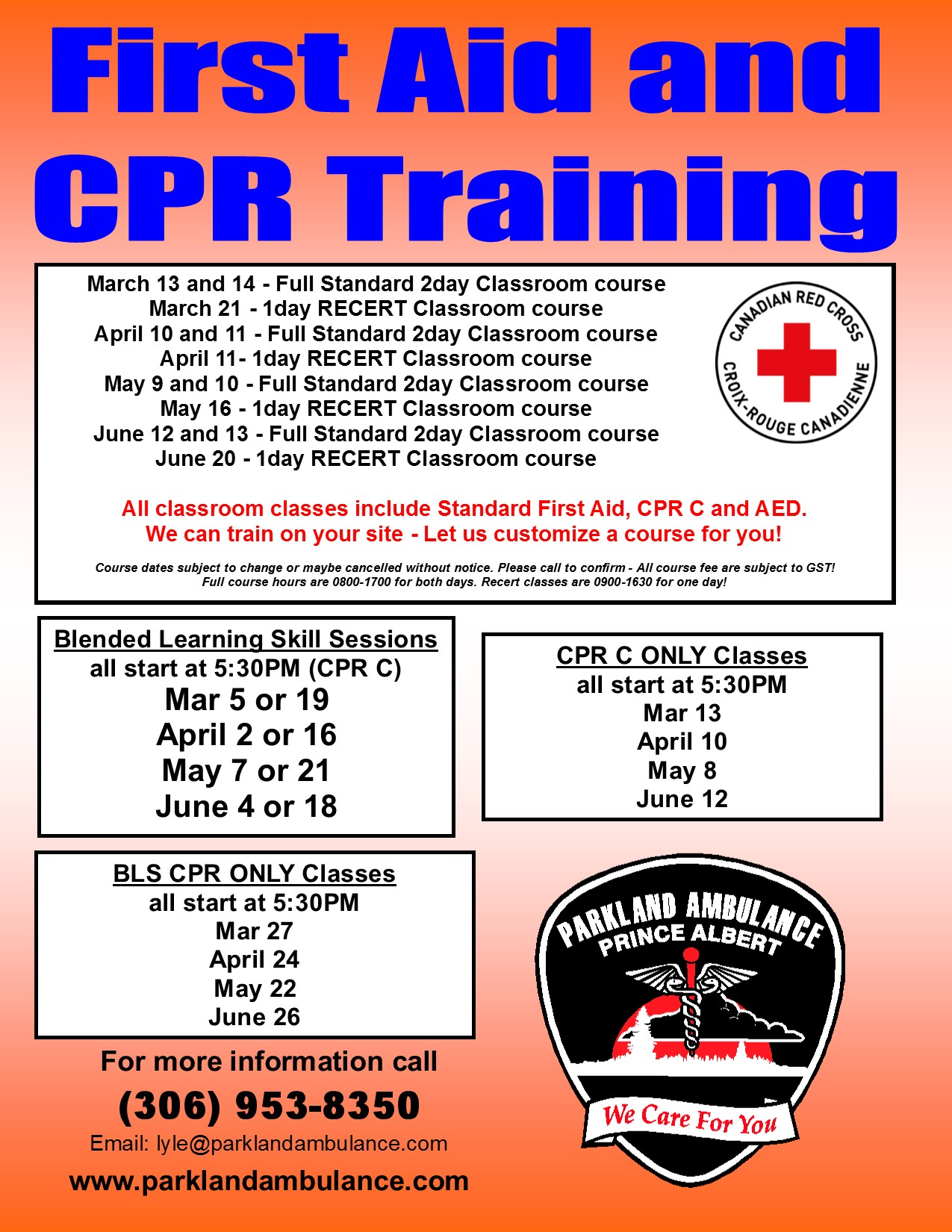 first aid and cpr training | parkland ambulance care ltd.