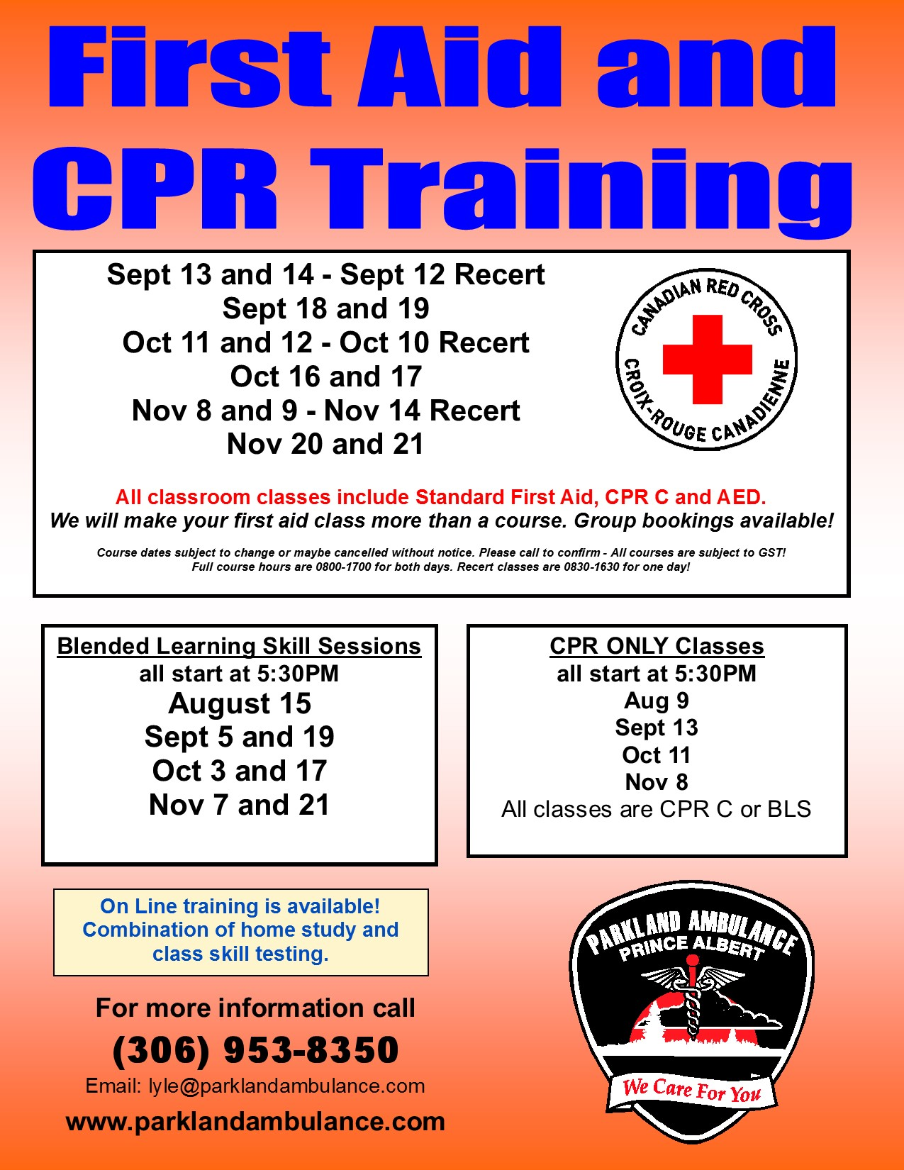 First aid and cpr training general parkland ambulance care ltd xflitez Choice Image
